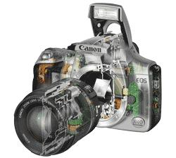 Цифровой фотоаппарат в разрезе